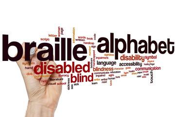 Braille alphabet word cloud