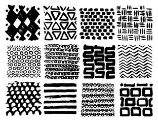 Big collection of different homemade textures made by ink