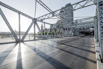 Printed kitchen splashbacks Bridge modern bridge and empty road floor