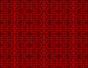 Seamless vintage Chinese window tracery square round diamond pattern background.