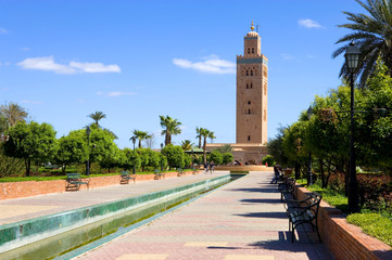 Morocco,  Marrakech, the minaret of the great Koutoubia mosque, XII century