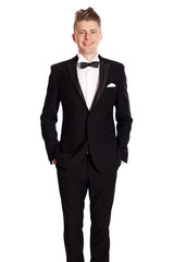 young elegant smiling man in tuxedo