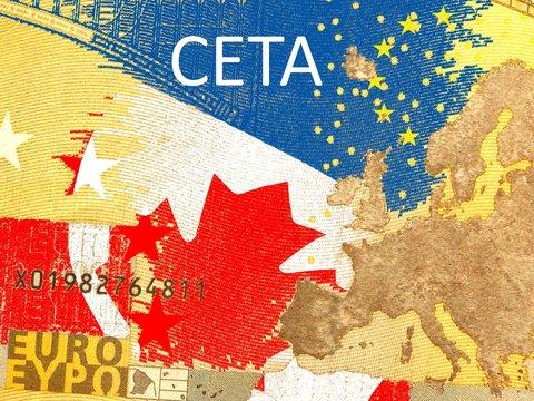 CETA - Comprehensive Economic and Trade Agreement Kanadische Flagge hinter einem durchscheinenden Eurogeldschein