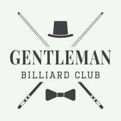 Vintage billiard label, emblem or logo. Vector illustration