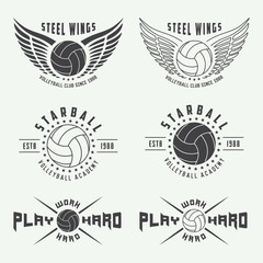 Set of vintage volleyball labels, emblems and logo. Vector illustration