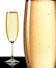 The close up of the champagne wine glass