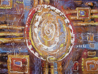 Abstract painting egg. White spiral shaped eggs on brown textured colorful background. Canvas. Picture for the interior, as part of wall decorations.