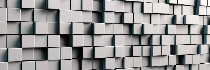 Panorama Hintergrund mit grauen Würfeln