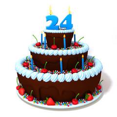 Birthday cake with number twenty four