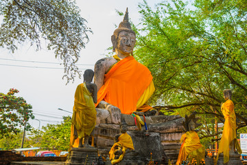 Big face of Buddha statue at Watyaichaimongkol Ayutthaya Province,Thailand