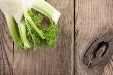 Fresh fennel on wooden background
