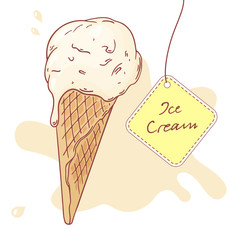 Hand drawn ice cream in a waffle cone. Vector illustration