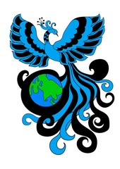 Firebird envelops the planet earth