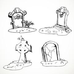 scary tombstones in Halloween night. outlines