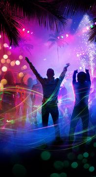 Art tropical night beach party