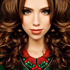 Sensual Woman. Fashion Portrait of Curly Hair Girl Fashion Model