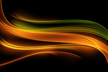 Light Orange Green Modern Abstract Waves Background