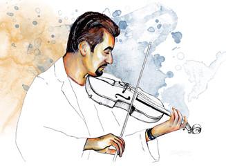 """Rysowanie ilustracji ,, Muzyk gra na skrzypcach """". - 86665668"""