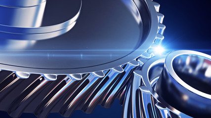 3d illustration of gear metal wheels close-up Wall mural