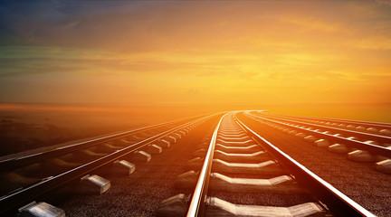 3d illustration of empty railways on sunset sky background