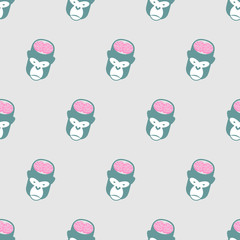 Monkey Brains Gorilla seamless pattern. Vector background of ani