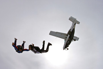 Skydiving photo . Airplane diving.