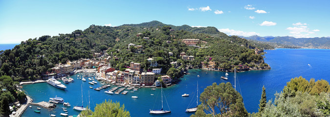 Aerial panorama of beautiful Portofino, Italy
