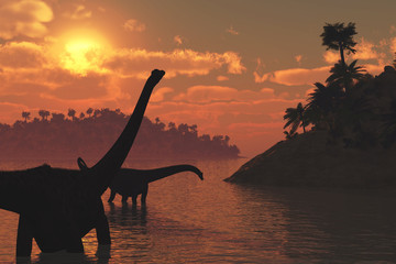 Diplodocus Dinosaurs at Sunset