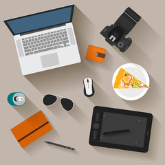 illustration in trendy flat style with some objects with long shadow used in usual life of modern people isolated on background for use in design for card, poster, banner, placard or billboard