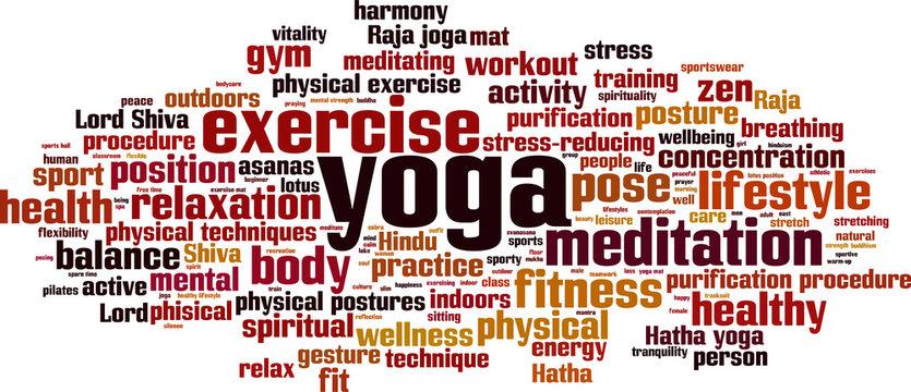 Yoga word cloud concept. Vector illustration