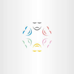 color faces happy and sad mask icon