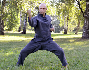 man outdoors in park practicing martial art