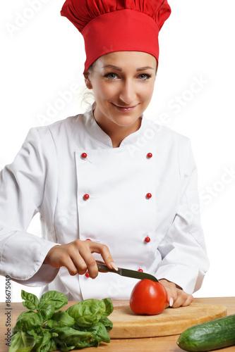 Köchin bei der arbeit  junge Köchin bei der Arbeit