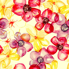 Seamless watercolour flowers pattern