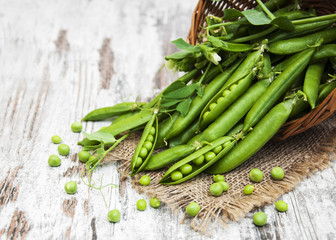 Basket with fresh peas