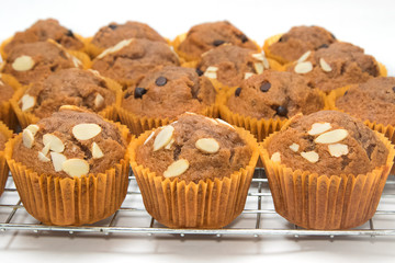 banana cup cake on the baking