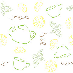 Tea seamless pattern with kettle, cups, lemon and mint.