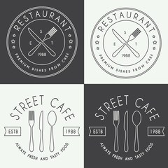 Set of vintage restaurant linear logo, badge and emblem