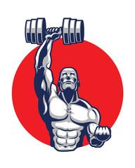 Muscular Body Builder Mascot