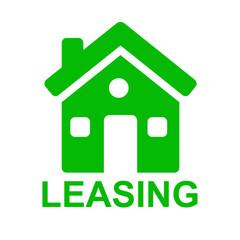 Icono casa y texto LEASING verde