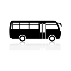 The black silhouette of a bus.