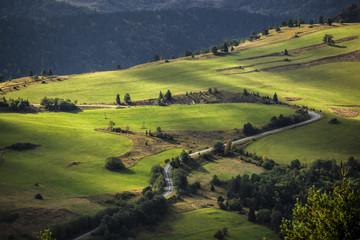 Green mountains hills landscape, Bieszczady, Poland