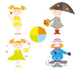 little girl and four seasons / vector illustration for kids
