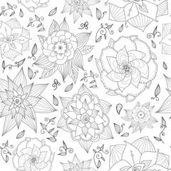 Hand drawn floral seamless pattern on white background.