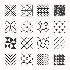 Set of geometric seamless patterns, triangles, lines, circles