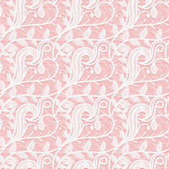 Seamless white lace fabric on a pink background. Subtle pattern of twigs and leaves.