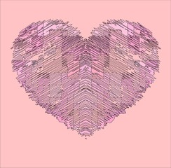 pink heart drawing