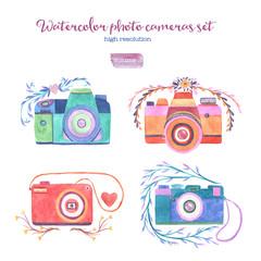 Watercolor photo cameras set.