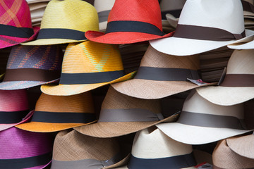 Group of hats for sale, hanging on a wall, Ecuador
