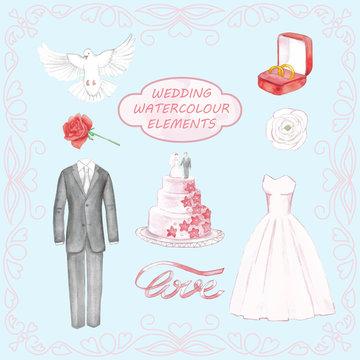 Wedding hand drawn watercolor elements